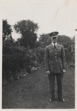 "Photograph of H D Buckley with his Royal Air Force ""wings"" taken at his parents' house, 20 Houghton Road, Handsworth, Birmingham"