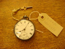 Pocket watch with winding key presented to Albert Bishop upon leaving St Paul's Practising School