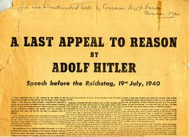 "Propaganda sheet ""A Last Appeal to Reason"" by Adolf Hitler, dropped by German aircraft on Llandrindod Wells"
