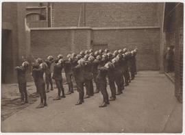 Photograph of St Martin's Bradley schoolboys, possibly doing physical education