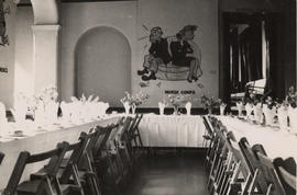 Photograph of The Priory dining room with American murals