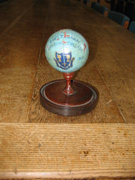 Cricket ball trophy presented for a record score