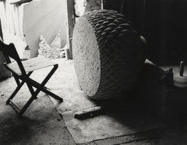 Photograph of sculpture Cone and Vessel during production