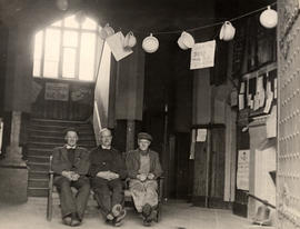 "Photograph of three St Paul's College porters, Harry Seeley, ""Sarge"" and Ernie Davies, at the time of the ""Body Match"""
