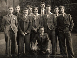 Photograph of ten St Paul's College students in front quadrangle