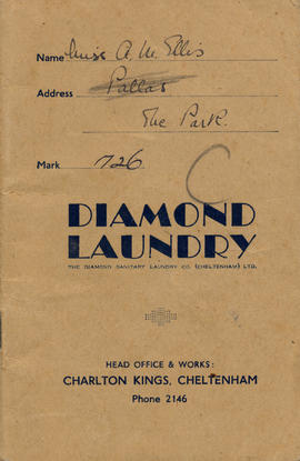 Diamond Laundry account book of Miss A M Ellis of Pallas, The Park