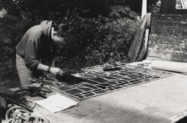 Photograph of Kevin Atherton carrying out restoration work on Cathedral