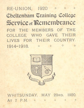Cheltenham Training College reunion 1920 service of remembrance programme