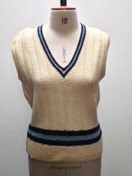 St Paul's College cream cricket jumper with navy and light blue stripes