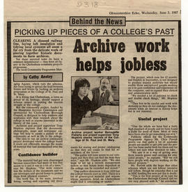 Gloucestershire Echo article on the work of the College archive staff and the Manpower Services C...