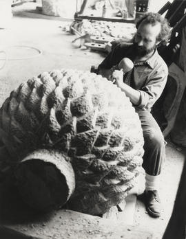 Photograph of Peter Randall-Page working on the sculpture Cone and Vessel