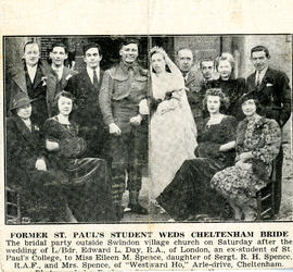 Gloucestershire Graphic and Cheltenham Chronicle wedding photograph of Lance-Bombardier Edward L Day, St Paul's College student 1939-1941