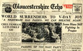Copy of the Gloucestershire Echo reporting the end of World War II
