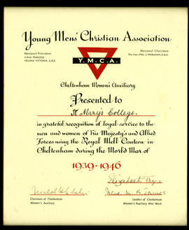 Framed certificate of the Young Man's Christian Association [YMCA] presented to St Mary&#039...