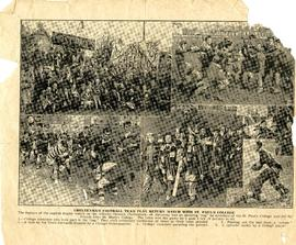 Page from the Cheltenham Chronicle and Gloucestershire Graphic showing St Paul's College versus Cheltenham rugby match